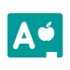 letter grade A next an apple icon
