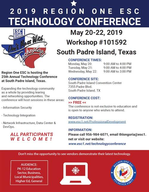2019 Region One ESC Tech Conference Participant Flyer