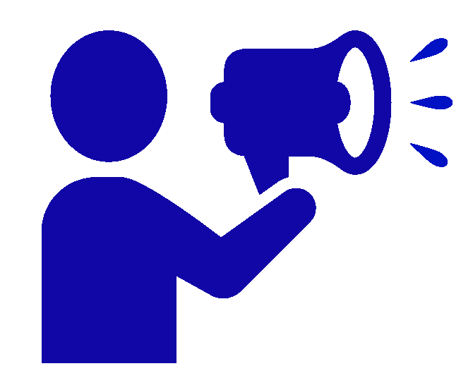 Icon image of person talking through a bullhorn