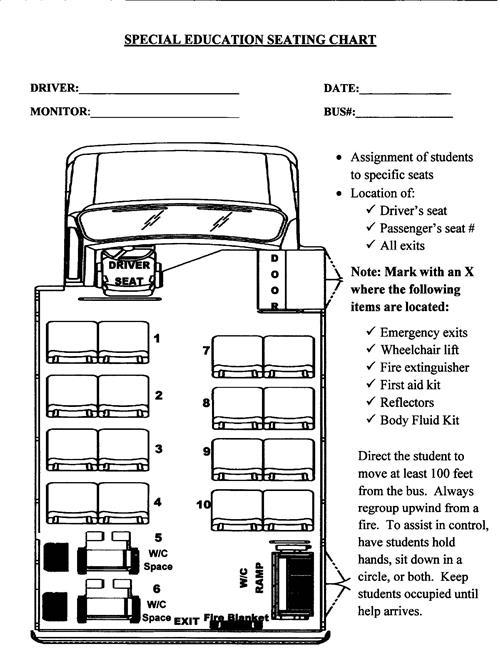 School Transportation    Special Needs School Bus Sitting Chart