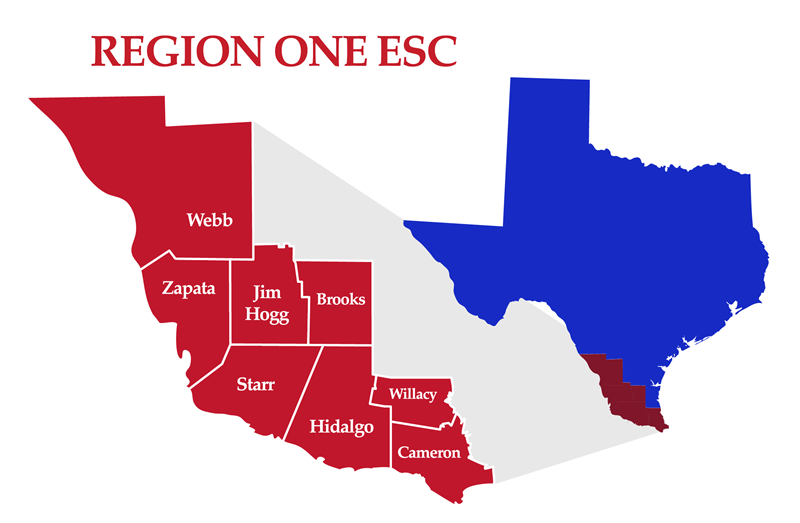 map of the Region One ESC counties