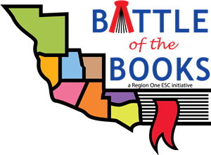 Battle of the Books logo showing all 8 counties of the region.